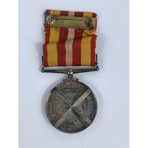 280 - A Nurse's Medal; silver, Awarded to MIss Alice Barratt for long and efficient service with bar