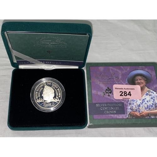 284 - GB: silver piedfort £5 coin, 2000