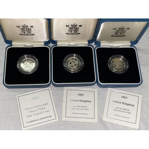 285 - GB: silver £1 coins, 2001, 2002, 2003 (3)