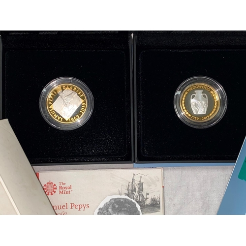 287 - GB: silver £2 coins, Wedgwood and Samuel Pepys