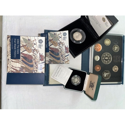 288 - GB: proof coin set 1993, silver £1 2000, 50p 950th anniversary, Battle of Hastings