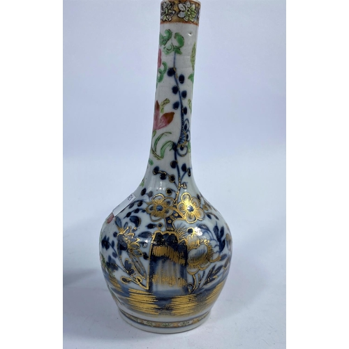 312 - A 19th century Chinese blue and white double gourd vase, prunus blossom decoration, h. 19cm (rim a.f...