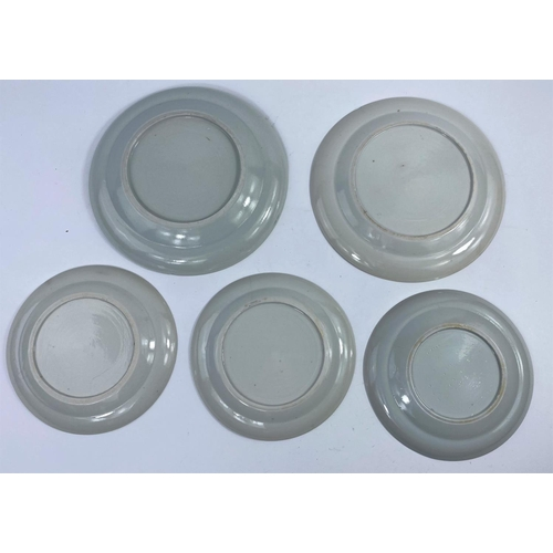 313A - 5 Chinese Fitzhugh pattern blue and white dishes, 3 x 16cm, 2 x 19.5cm (all 5 with chips to rims)(As...