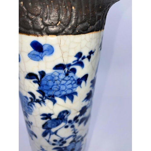317 - A Chinese blue and white crackle glaze sleeve vase (re-glued), ht. 26cm; 2 Chinese scholars (a.f.)
