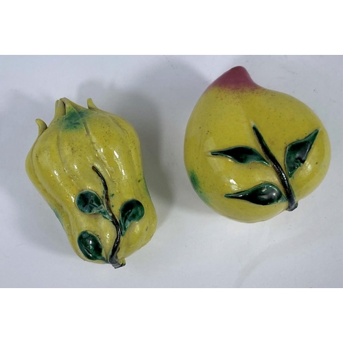 321 - 2 Chinese ceramic models of fruit (Both in good condition)