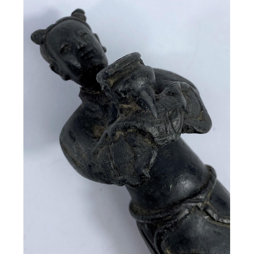 321A - An antique bronze Chinese figure of scholar holding incense burner, ht. 15cm (complete but head re-a...