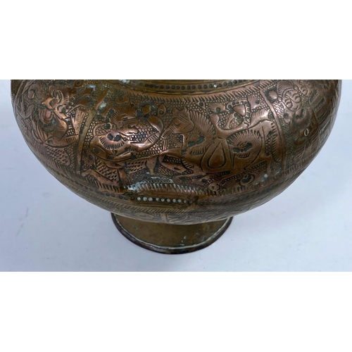 322A - 2 Indian copper and brass water lotas, ht. 15cm (Both complete but with dents, one has wear to engra...