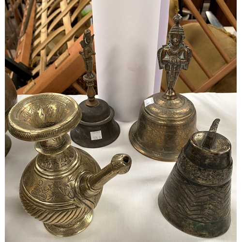 324A - 3 Asian bells and an Indian water dropper (All in good condition with age wear)