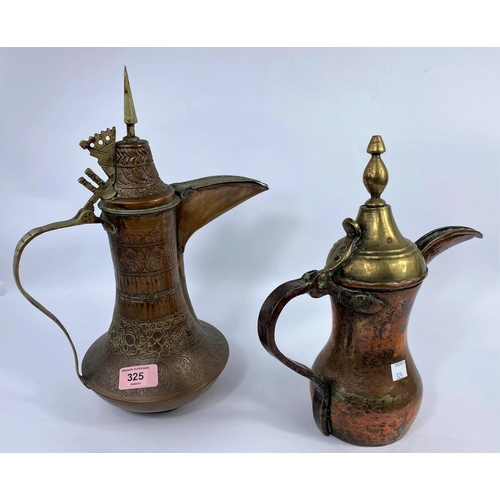325 - 2 Middle Eastern copper and brass coffee pots