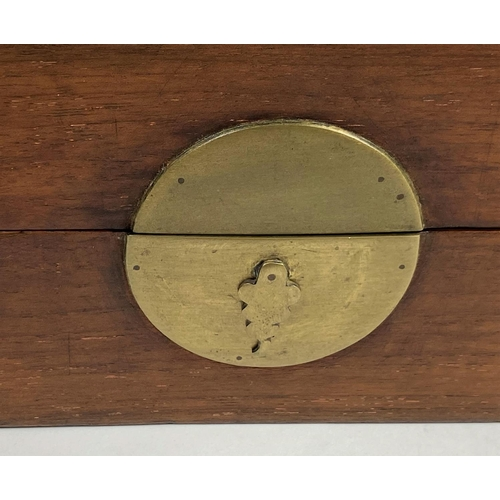 332 - A 19th century Chinese hardwood smoker's box/tray with partly fitted interior and pipe, 25 x 28 cm