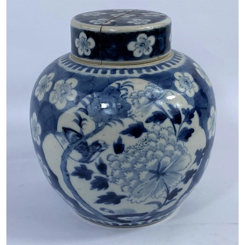 334 - A 19th century Chinese porcelain ginger jar, blue and white decoration of flowers and birds, 20 cm (...