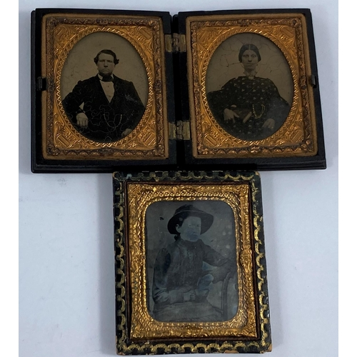 80 - A 19th century composition Double Union photograph frame containing a pair of portraits, 7.8 x 6.7 c...
