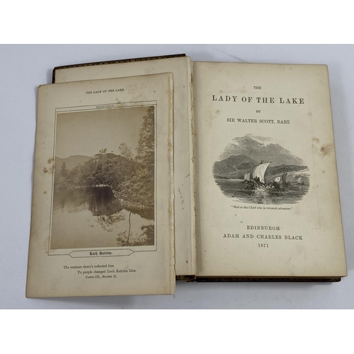 86 - A mid Victorian Mauchline ware book:  The Lady of the Lake by Sir Walter Scott, illustrated early ph...