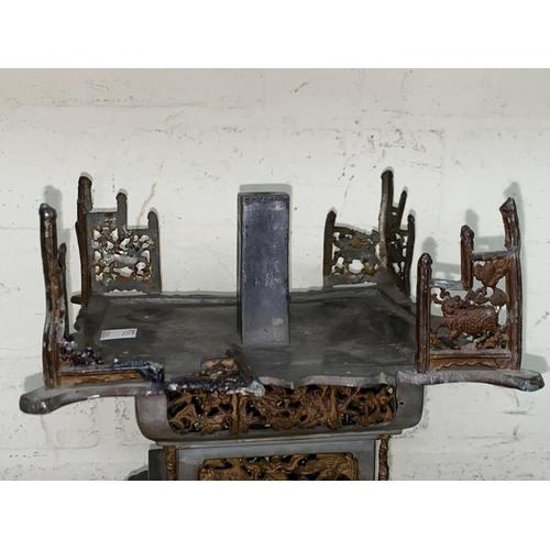 323A - A Chinese pewter stand with pierced decoration, marks to underside, ht. 24cm (some loss to upper sec...