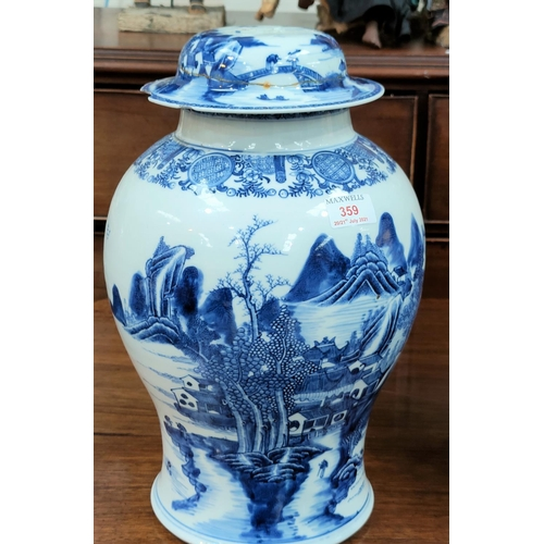 334a - A large18th century Chinese Qianlong period blue and white inverted baluster lidded vase with detail...