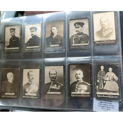 114B - An album of 37 sheets of part sets of cigarette cards Ogdens, including tabs.