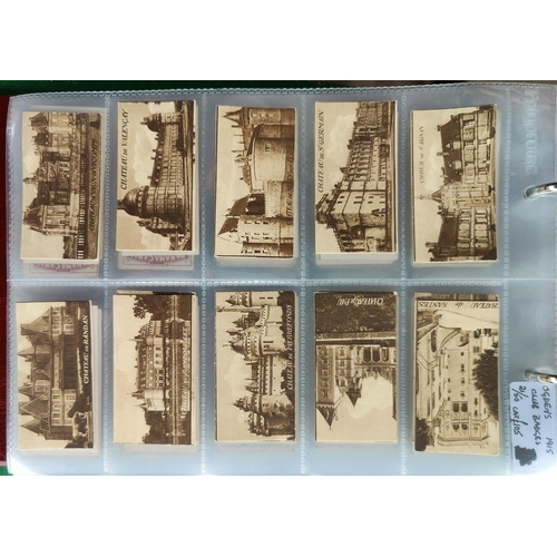 115B - An album of part sets of rarer cigarette cards including 34 Wills Farch chateau, Edward Ringer, Faul...