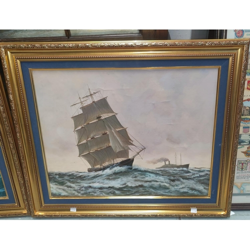 127A - An oil on canvas of a sailing ship in the foreground and a Liner in the background, 40 x 50cm, in a ...
