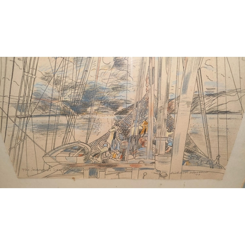 127C - Richard Demarco (Scottish B1930): A pen and pencil sketch 'The Marquet sailing at sunset', signed, d...