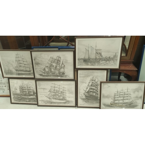 127D - 7 framed prints after K. Kirby, of pencil sketches of the Mersey, 25 x 38cm
