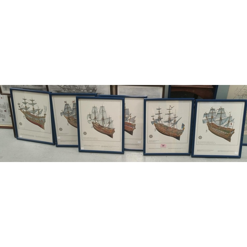 128 - 6 uniformly framed pictures of early War Ships from War Ships Revenge 1577 to English War Ship 1707,...