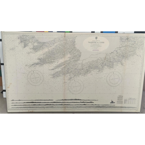 128A - A 1960's mounted marine map of Ireland's South Coast, Valentia to Cork, 70cm x 120cm
