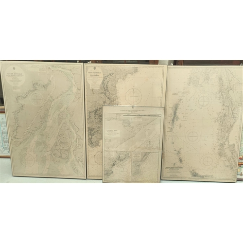 128D - Three East India Coast mounted marine maps, Cape Conrin to Concorda and another 2 Bay of Bengal maps...