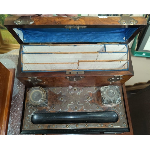 29A - A Victorian burr walnut desk compendium with ink well, lidded letter rack and drawer