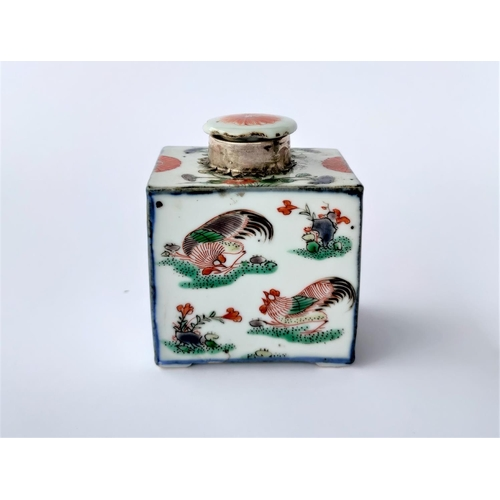 301B - A Chinese porcelain tea caddy decorated with flowers and cockerels, with a white metal mount and por...