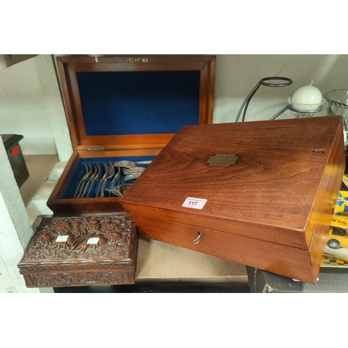 117 - A 19th century rectangular mahogany sewing box 33cm, a similar cutlery box 42cm and a carved wood ci...