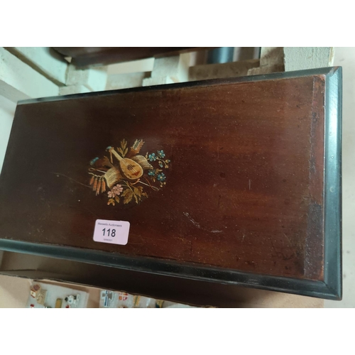 118 - A 19th century cylinder music box playing 6 airs, walnut case with transfer motif