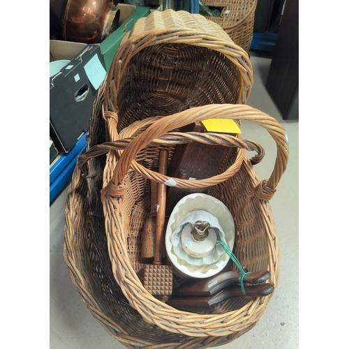 24 - A large stoneware dish and a jar; kitchenalia; baskets