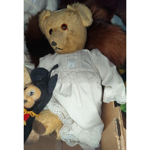 26 - A mid 20th century Mickey Mouse soft toy by Semco; 3 vintage teddy bears; a fox fur stole