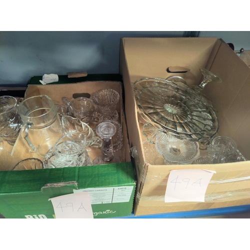 49A - A selection of 4 vintage moulded glass cake stands; other moulded glassware.