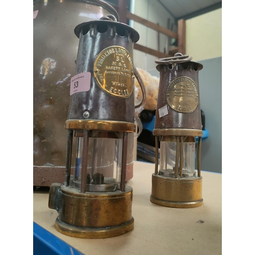53 - 2 Miner's safety lamps by the