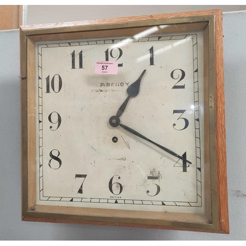 57 - A 1930's Garrard oak cased square dial wall clock with timepiece movement