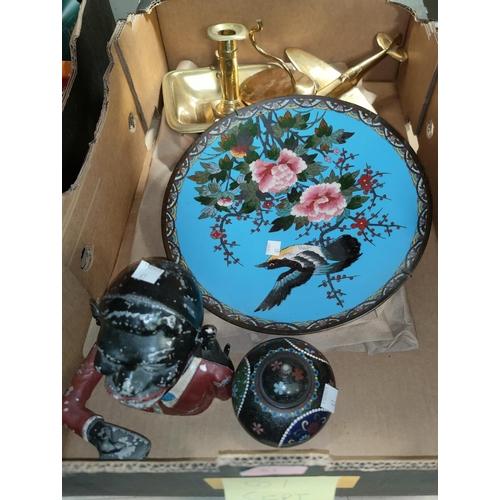 61 - A cloisonné circular plaque decorated with bird and cherry blossom against a sky blue ground, diamet...