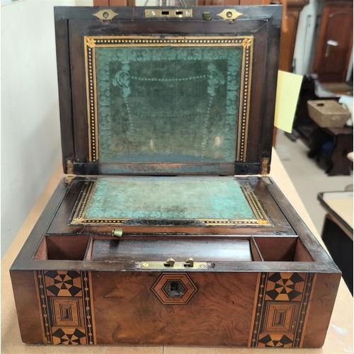 63 - A Victorian walnut and Tunbridge ware lap desk