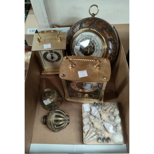73 - Two prints after Sir William Russell Flint; a barometer; 2 reproduction clocks; decorative items