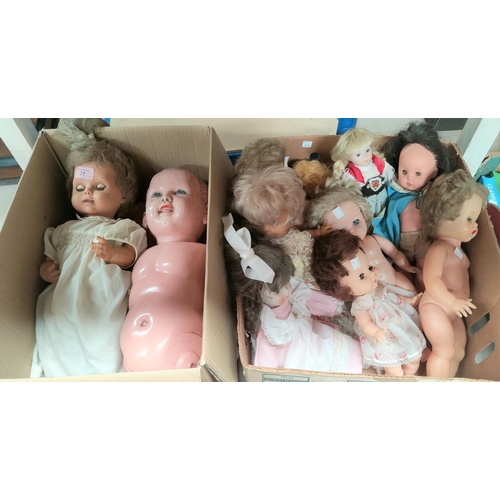 77 - 9 various mid 20th century plastic and composition dolls, a mid 20th century plastic doll, sleeping ...