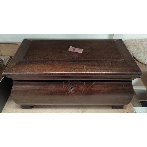 81 - A brass snuff box; an oak sarcophagus shaped jewellery box, 32 cm; other collectables