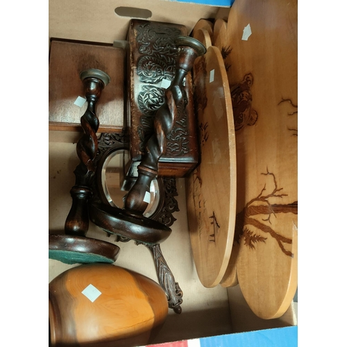 82 - A coopered oak oval tray, 53 cm; a pair of barley twist candlesticks, 32 cm; other treen