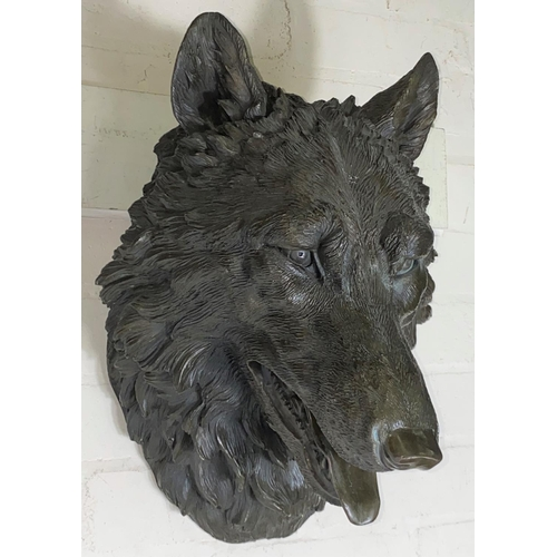 98 - A 20th century animalier style wall hanging bronze, depicting a wolf's head, height 46cm.