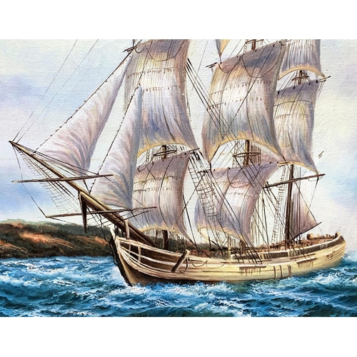 127 - An oil on canvas of a three masted ship on choppy seas, signed 'Peters' to bottom right, 45 x 60cm, ...