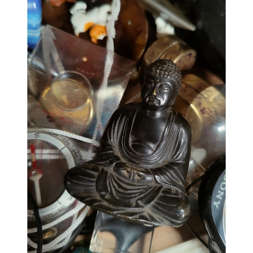 106 - A small bronze Buddah, a resin bronzed barn owl and a selection of collectables.