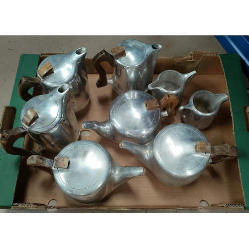 108C - A selection of Picquot ware, three teapots, three coffee pots and two milk jugs