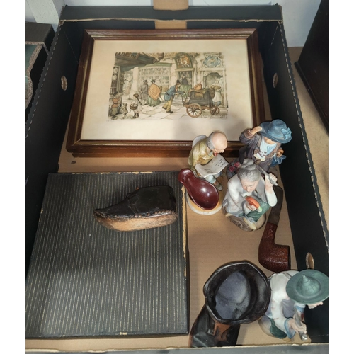 111 - A 19th century cobblers made child's clog; a selection of bisque figures; a pair of prints by Anton ...
