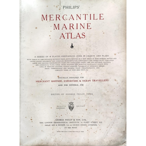 125B - PHILIPS mercantile Marine Atlas, 12th edition, circa 1920's