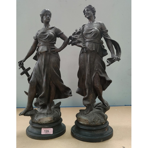 126 - A pair of cast spelter figures after A J Scott 'L'esperance' and 'La Jeunesse', on turned wood stand...