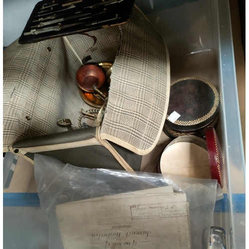 40 - A painted fan; a boxed geometry set; old documents; opera glasses; etc.